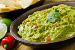 guacamole with tomatoes and avocado
